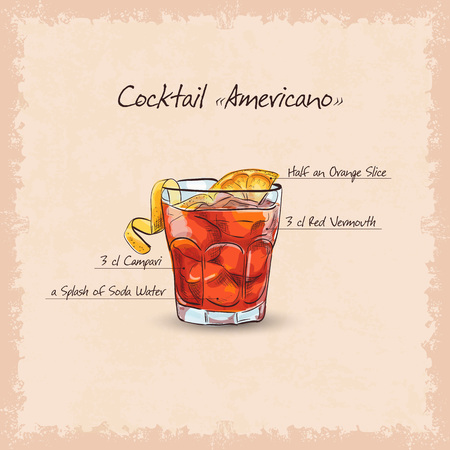 scetch: Cocktail americano scetch, classic alcoholic masterpieces. Based on citrus, red vermouth and soda
