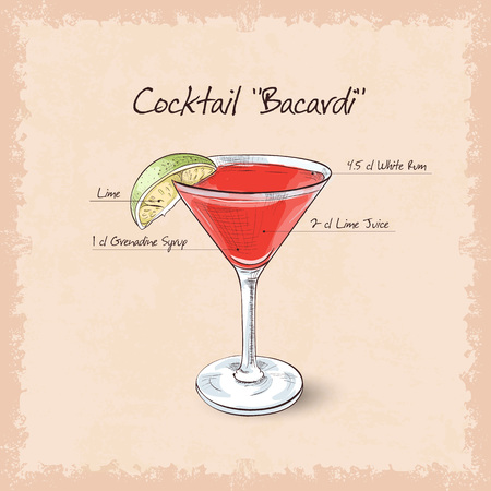 bacardi: Cocktail Bacardi, low-alcohol drink. Light rum with pomegranate grenadine and lemon