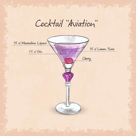 coctel de frutas: Aviación cóctel, bebidas de bajo contenido alcohólico. marrasquino astringencia, la acidez del limón y gin Vectores