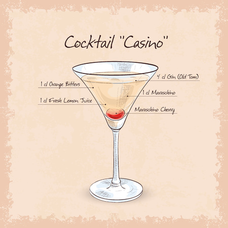 Cocktail Casino, low-alcohol drink. Maraschino almond, orange and lemon juice with gin.
