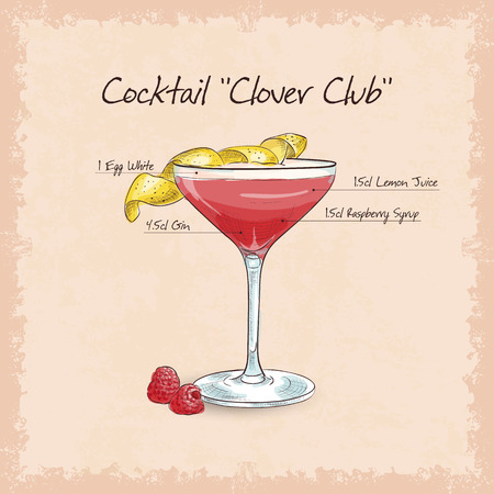 Clover Club, low-alcohol drink. Gin, lemon juice or lime, grenadine and egg white
