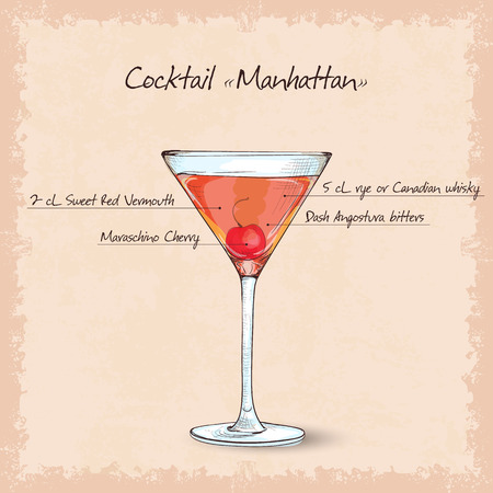 cocktail manhattan scetch garnished with a cherry and lemon and gold glitter back ground