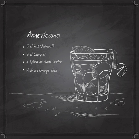 Cocktail americano on black board with ingredients. Alcohol cocktails theme. 矢量图像