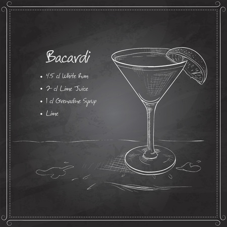 bacardi: Cocktail bacardi on black board with ingredients. Alcohol cocktails theme.