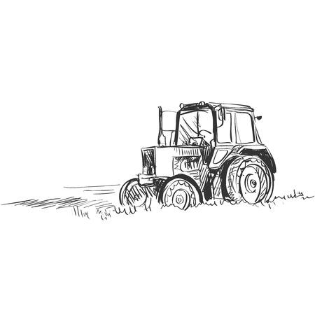 Tractor. Doodle stijl. Geïsoleerd in een witte achtergrond. Uitstekende vector illustratie, EPS-10 Stock Illustratie