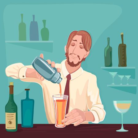 alcoholic: Vector illustration of barman for cocktail party. Excellent vector illustration, EPS 10 Illustration