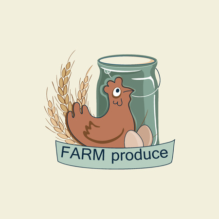 agrimotor: Vector retro farm fresh logotype. Organic farm logo with chicken and eggs