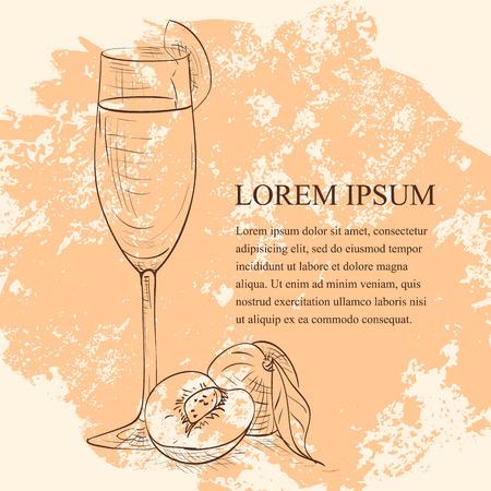퓌레: Cocktail belini scetch, low-alcohol drink. Dry wine and peach puree