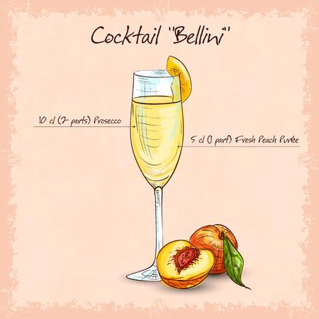 カクテルのベリーニ、低アルコール飲料。辛口のワインと桃をピューレします。  イラスト・ベクター素材