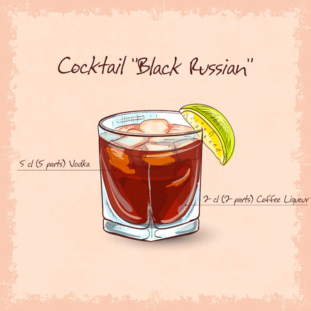 liqueur: Cocktail Black russian . It consists of vodka, ice and coffee liqueur.