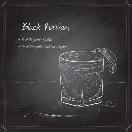 ブラック ボードにカクテル ブラック ・ ルシアン。それは、ウォッカ、氷、コーヒー リキュールで構成されます。