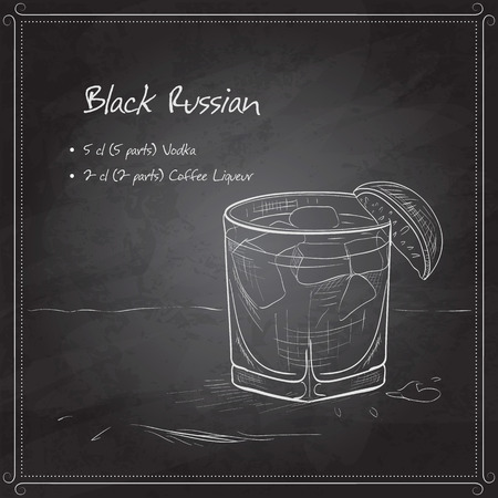 liqueur: Cocktail black russian on black board. It consists of vodka, ice and coffee liqueur. Illustration
