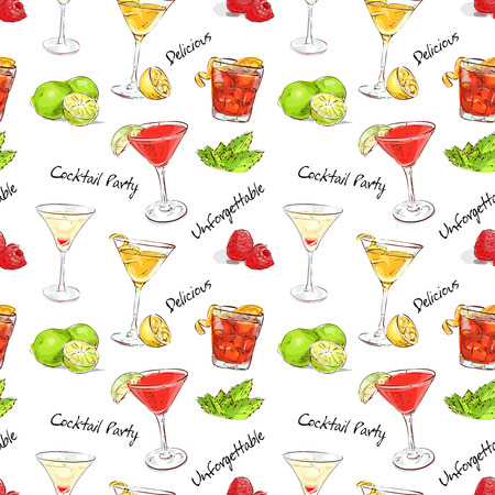 color pattern unforgettables cocktails, excellent vector illustration, EPS 10