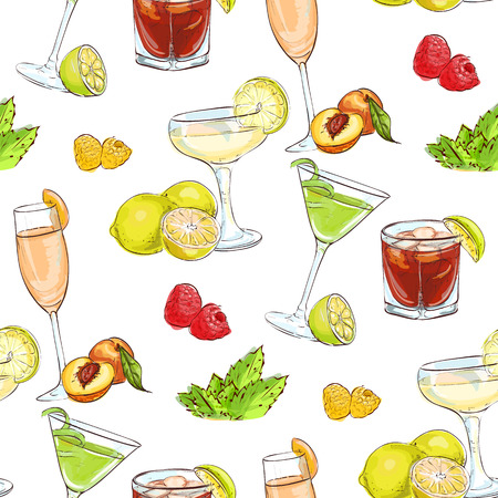 cocktails: color pattern unforgettables cocktails, excellent vector illustration, EPS 10