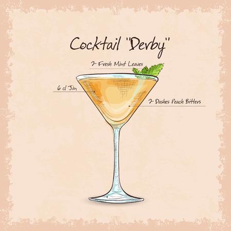 Derby is een cocktail die gin, perzik bitter en muntblaadjes bevat