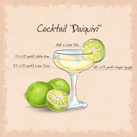 Cocktail Daiquiri, low-alcohol drink. It consists of rum, sugar and lime.