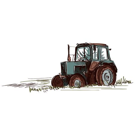 agronomics: Doodle tractor. Isolated in white background. Excellent vector illustration, EPS 10