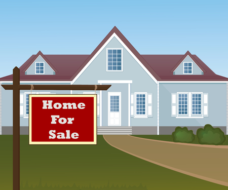 house for sale: Home For Sale Real Estate Sign in Front of Beautiful New House. Illustration