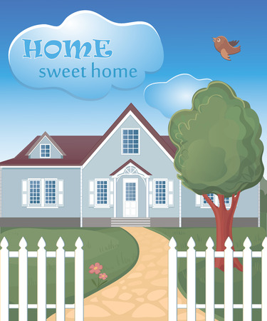 imperfections: home sweet home poster. Retro sign template. Illustration
