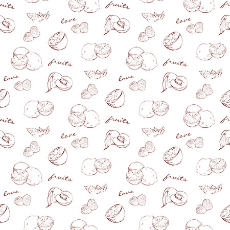lemon lime: scetch pattern fruit for your design with lemon, lime, peach, orange, raspberry