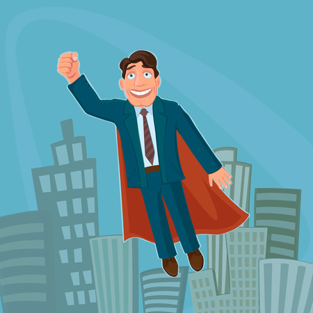 superhuman: Businessman Superhero. Successful, strong and clever. Excellent vector illustration, EPS 10
