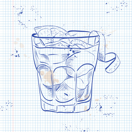 The Americano Cocktail on a notebook page. It consists of Orange, red vermouth and soda