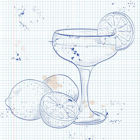 rum: The Daiquiri Cocktail on a notebook page, low-alcohol drink. It consists of rum, sugar and lime.