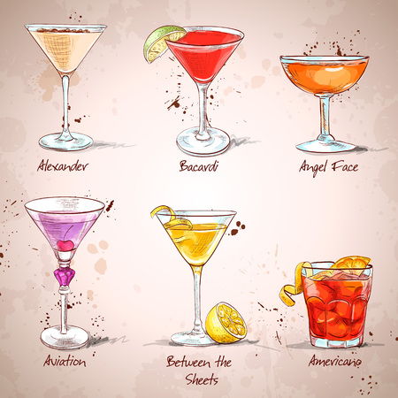 The Unforgettables Cocktail Set , excellent vector illustration, EPS 10 Stock Illustratie