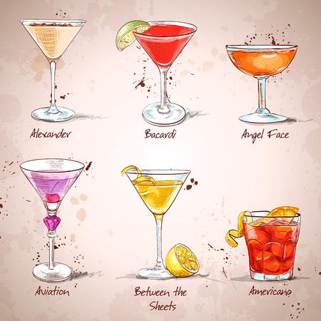 De Unforgettables Cocktail Set, uitstekende vector illustratie, EPS-10