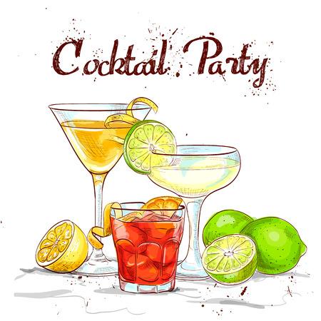 De Unforgettables Cocktail Set cocktail party, uitstekende vector illustratie, EPS-10 Stock Illustratie