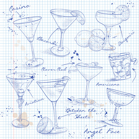 The Unforgettables Cocktail Set on a notebook page, excellent vector illustration