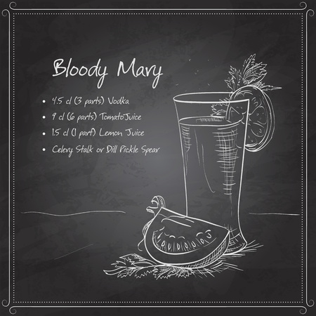Bloody Mary cocktail on black board with cayenne pepper rim