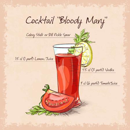 블러디 메리 칵테일, 카이엔 고추 테두리가있는 저 알코올 음료 일러스트