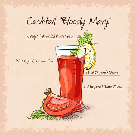 mary: Bloody Mary cocktail, low-alcohol drink with cayenne pepper rim