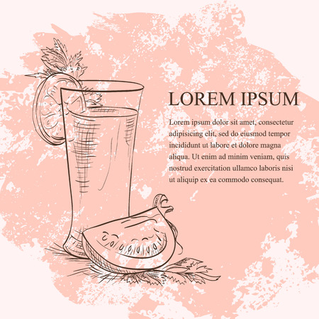 cayenne pepper: Bloody Mery scetch, low-alcohol drink with cayenne pepper rim Illustration