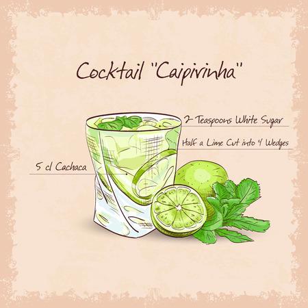 poured: Caipirinha - National Cocktail of Brazil Made with Cachaca, Sugar and Lime.