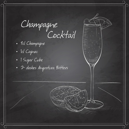 champagne orange: Champagne cocktail in glasses with fresh orange and cherry  on black board
