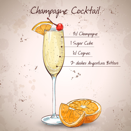 champagne orange: Champagne cocktail in glasses with fresh orange and cherry