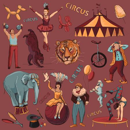 Circo. Colección de iconos dibujados a mano con acróbatas, atleta, payasos, elefantes, trucos, tigre, perro, oso, bici Ilustración de vector