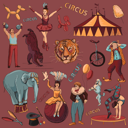 payaso: Circo. Colección de iconos dibujados a mano con acróbatas, atleta, payasos, elefantes, trucos, tigre, perro, oso, bici Vectores