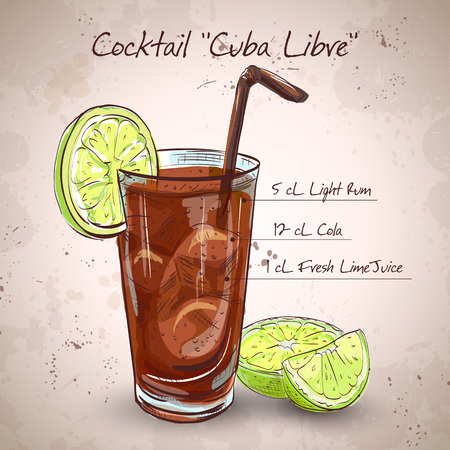 Cocktail Cuba Libre with lime and Cola, low-alcohol drink