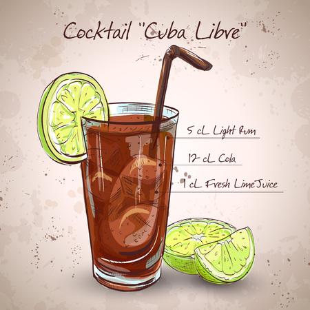 Cocktail Cuba Libre mit Limetten und Cola, alkoholarme Getränke Standard-Bild - 46954621