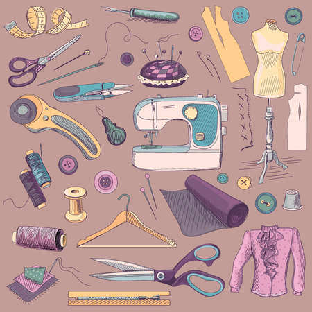 Colored hand drawn sewing icons set with a sewing machine, thread, scissors, spools, bobbins, cloth hanger, needles, ruler, clothes, mannequin, buttons. 矢量图像