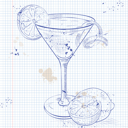 cosmopolitan: Red Cosmopolitan Cocktail served with a slice of a lime, low-alcohol drink on a notebook page