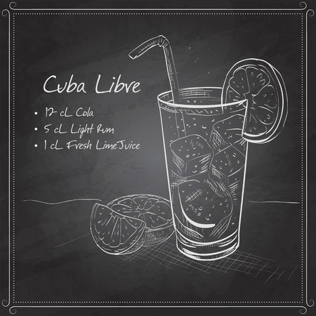 o'clock: Cocktail Cuba Libre with lime and Cola, low-alcohol drink on black board