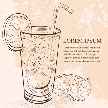 scetch: Cocktail Cuba Libre scetch with lime and Cola, low-alcohol drink Illustration