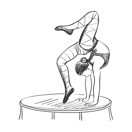 acrobat: doodle circus acrobat isolated on white background, excellent vector illustration