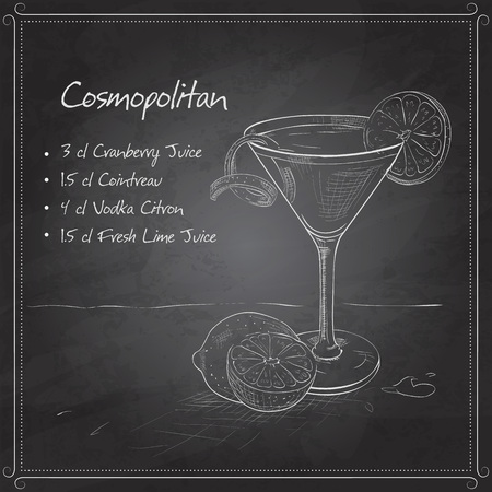 Red Cosmopolitan Cocktail served with a slice of a lime, low-alcohol drink on black board