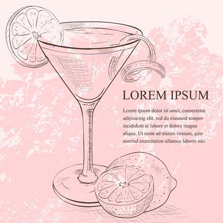 alcool: Cocktail Cosmopolitan rouge servi avec une tranche de citron vert, boisson faible teneur en alcool