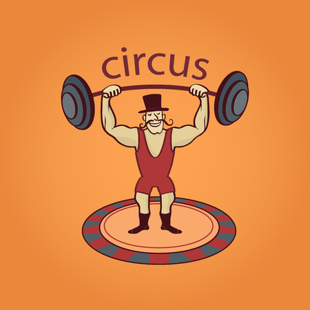 lable: Hand drawn circus lable with the athlete
